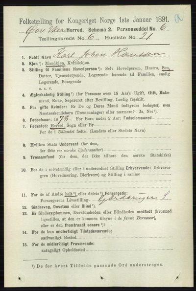 Image from object titled Folketelling 1891 - Øvre Eiker - personsedler - side 2339