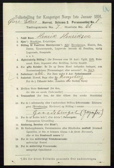 Image from object titled Folketelling 1891 - Øvre Eiker - personsedler - side 2927