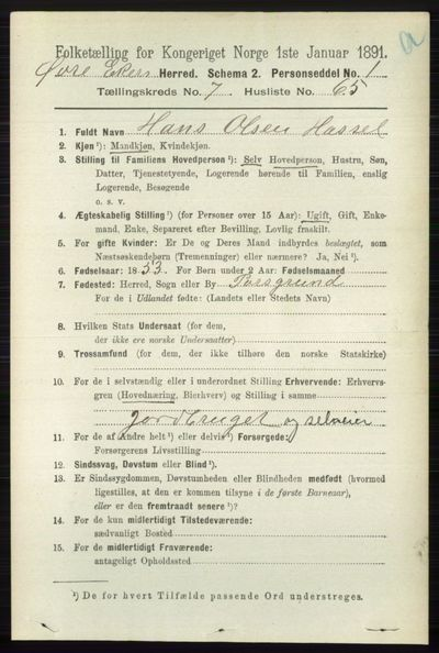 Image from object titled Folketelling 1891 - Øvre Eiker - personsedler - side 2936