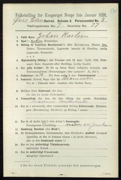 Image from object titled Folketelling 1891 - Øvre Eiker - personsedler - side 2989