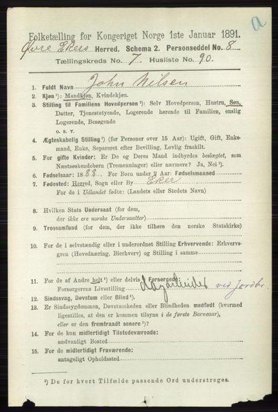Image from object titled Folketelling 1891 - Øvre Eiker - personsedler - side 3041