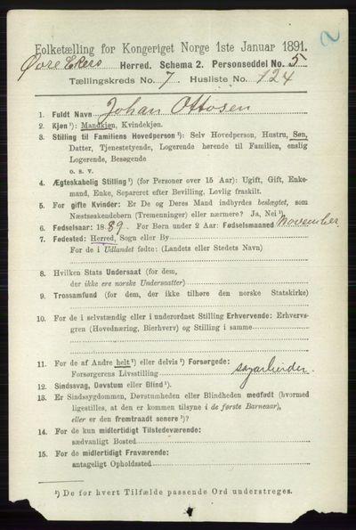 Image from object titled Folketelling 1891 - Øvre Eiker - personsedler - side 3163