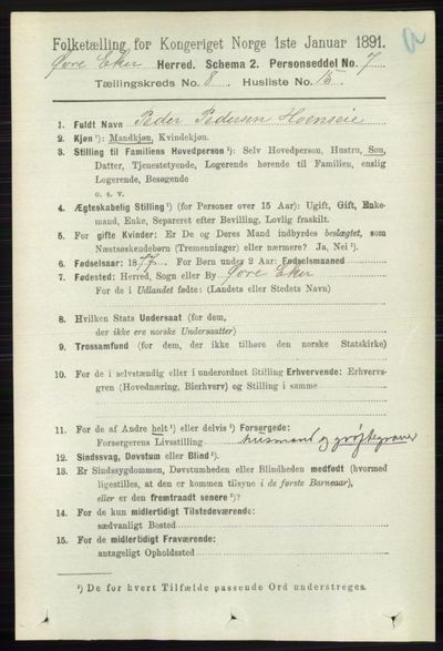 Image from object titled Folketelling 1891 - Øvre Eiker - personsedler - side 3303