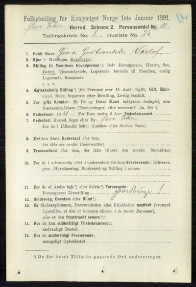 Image from object titled Folketelling 1891 - Øvre Eiker - personsedler - side 3363