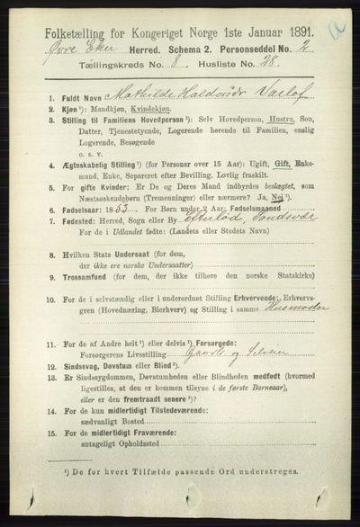Image from object titled Folketelling 1891 - Øvre Eiker - personsedler - side 3383