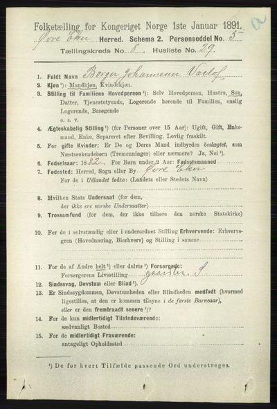 Image from object titled Folketelling 1891 - Øvre Eiker - personsedler - side 3390