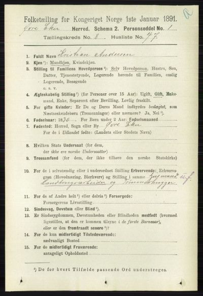Image from object titled Folketelling 1891 - Øvre Eiker - personsedler - side 3495