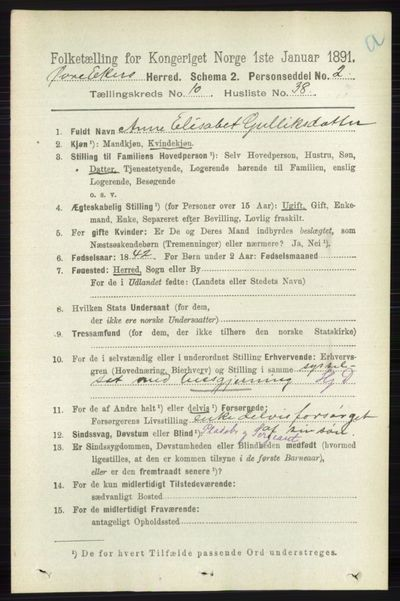 Image from object titled Folketelling 1891 - Øvre Eiker - personsedler - side 4240