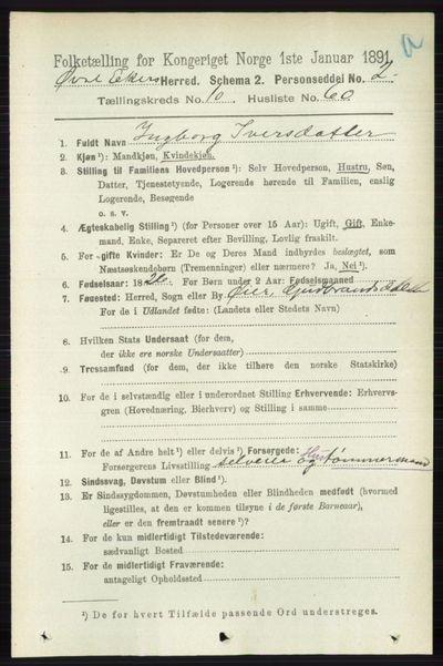 Image from object titled Folketelling 1891 - Øvre Eiker - personsedler - side 4350