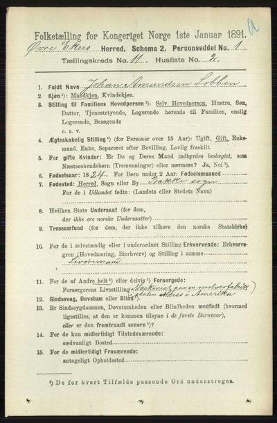 Image from object titled Folketelling 1891 - Øvre Eiker - personsedler - side 4596