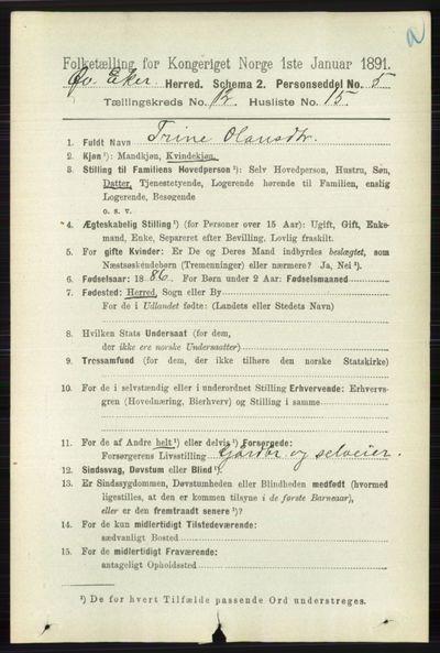 Image from object titled Folketelling 1891 - Øvre Eiker - personsedler - side 5378