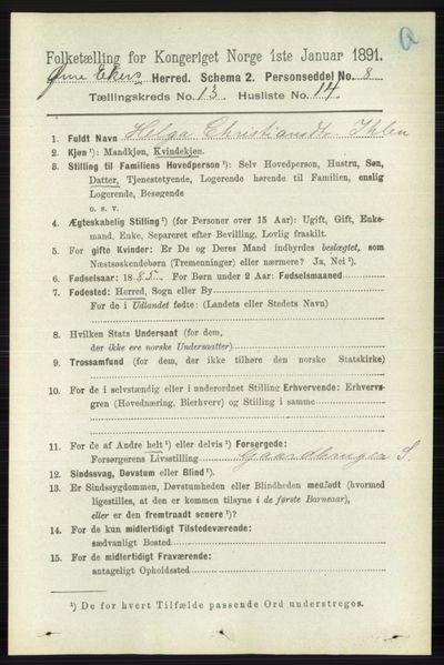 Image from object titled Folketelling 1891 - Øvre Eiker - personsedler - side 5966
