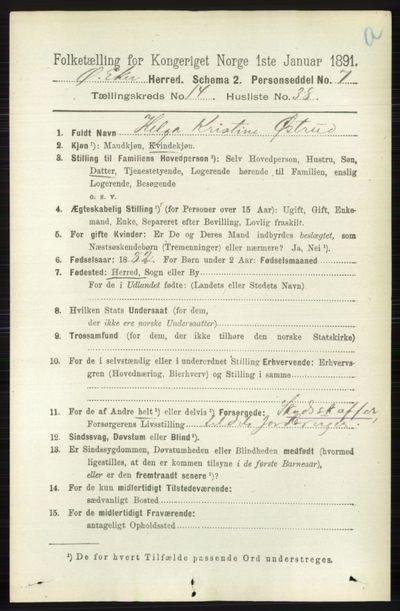 Image from object titled Folketelling 1891 - Øvre Eiker - personsedler - side 6681
