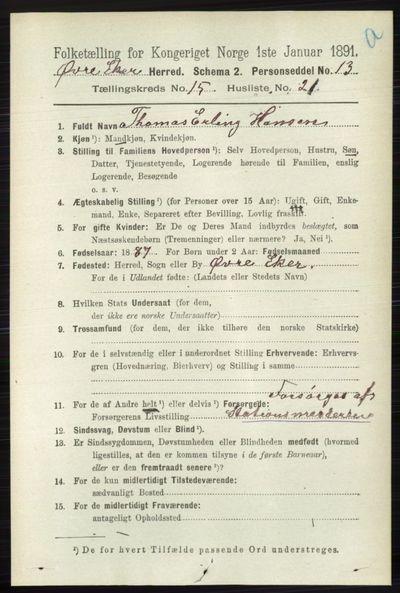 Image from object titled Folketelling 1891 - Øvre Eiker - personsedler - side 7176