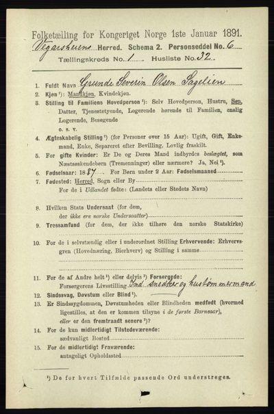 Image from object titled Folketelling 1891 - Vegårshei - personsedler - side 304
