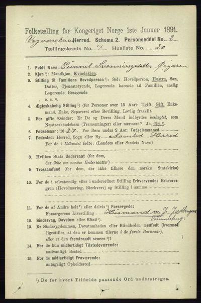 Image from object titled Folketelling 1891 - Vegårshei - personsedler - side 894