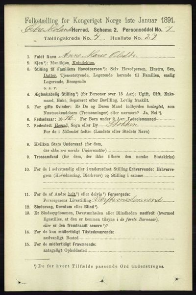 Image from object titled Folketelling 1891 - Austre Moland - personsedler - side 2205