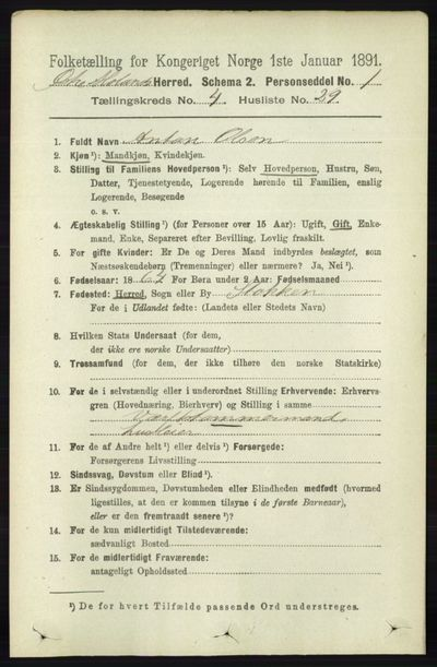 Image from object titled Folketelling 1891 - Austre Moland - personsedler - side 2217