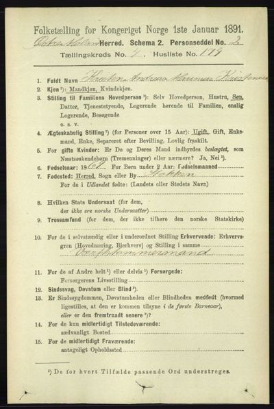 Image from object titled Folketelling 1891 - Austre Moland - personsedler - side 2957