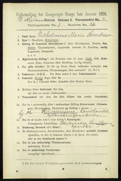 Image from object titled Folketelling 1891 - Vestre Moland - personsedler - side 266