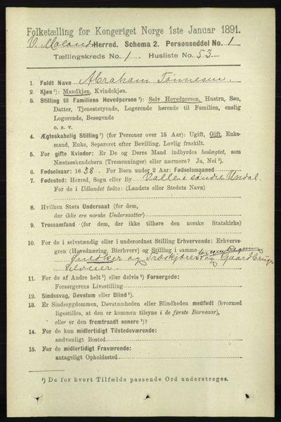 Image from object titled Folketelling 1891 - Vestre Moland - personsedler - side 418