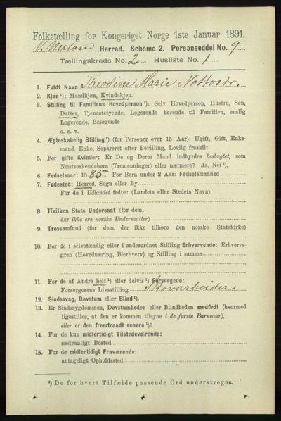 Image from object titled Folketelling 1891 - Vestre Moland - personsedler - side 635