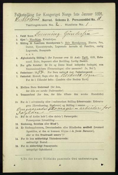 Image from object titled Folketelling 1891 - Vestre Moland - personsedler - side 637