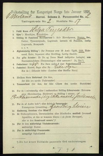 Image from object titled Folketelling 1891 - Vestre Moland - personsedler - side 714