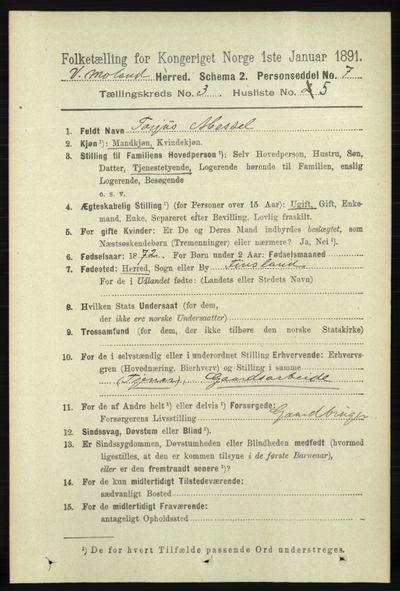 Image from object titled Folketelling 1891 - Vestre Moland - personsedler - side 986