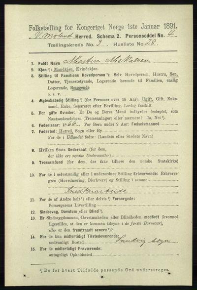Image from object titled Folketelling 1891 - Vestre Moland - personsedler - side 1113