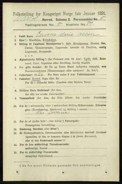 Image from object titled Folketelling 1891 - Vestre Moland - personsedler - side 2234