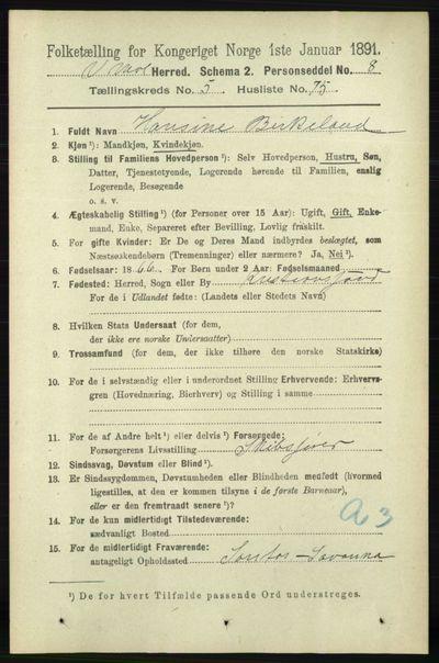 Image from object titled Folketelling 1891 - Vestre Moland - personsedler - side 2242