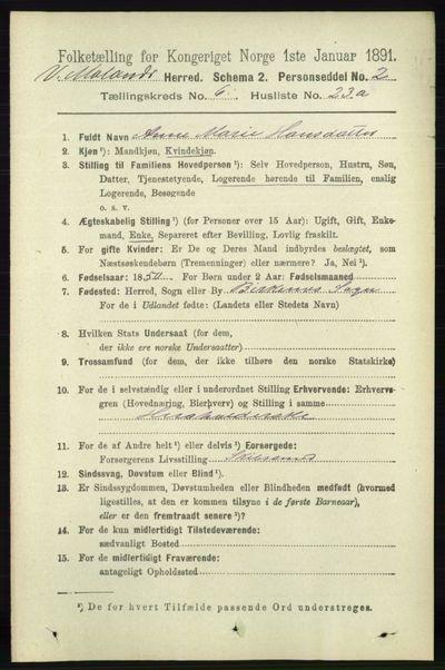Image from object titled Folketelling 1891 - Vestre Moland - personsedler - side 2455