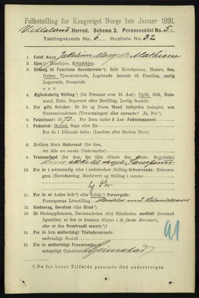 Image from object titled Folketelling 1891 - Vestre Moland - personsedler - side 2505