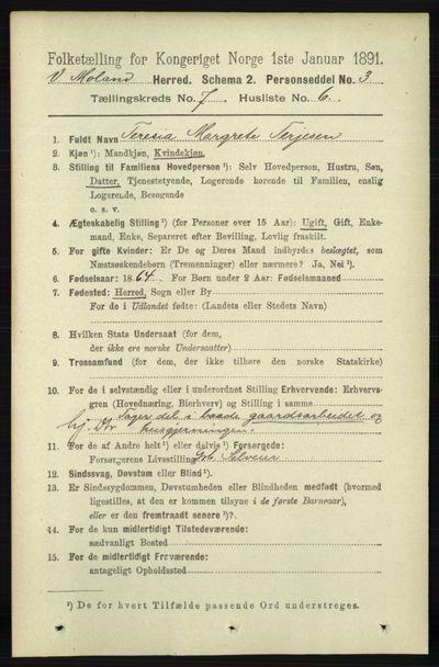 Image from object titled Folketelling 1891 - Vestre Moland - personsedler - side 2817