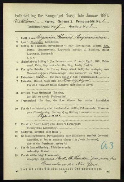 Image from object titled Folketelling 1891 - Vestre Moland - personsedler - side 2828