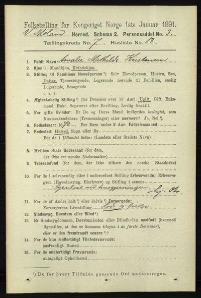 Image from object titled Folketelling 1891 - Vestre Moland - personsedler - side 2850