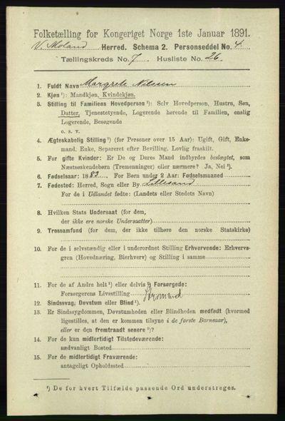 Image from object titled Folketelling 1891 - Vestre Moland - personsedler - side 2913