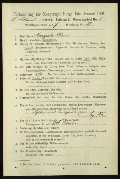 Image from object titled Folketelling 1891 - Vestre Moland - personsedler - side 2916