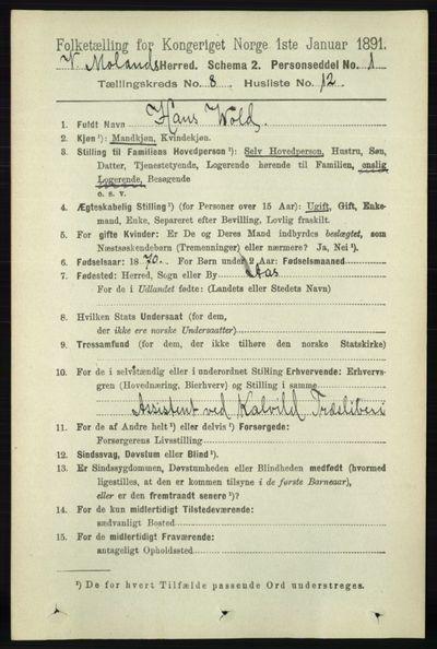 Image from object titled Folketelling 1891 - Vestre Moland - personsedler - side 3067