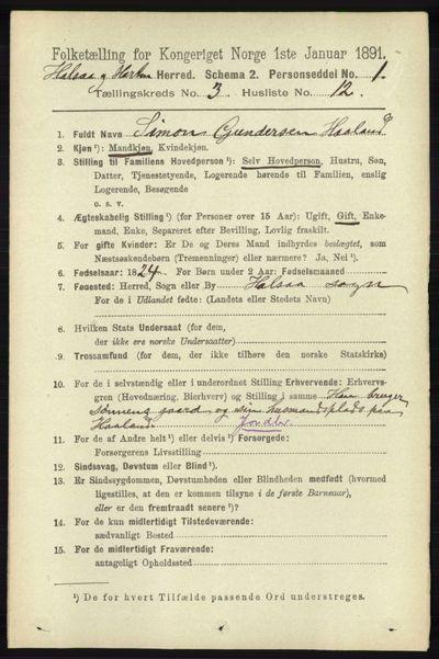 Image from object titled Folketelling 1891 - Halse og Harkmark - personsedler - side 1059