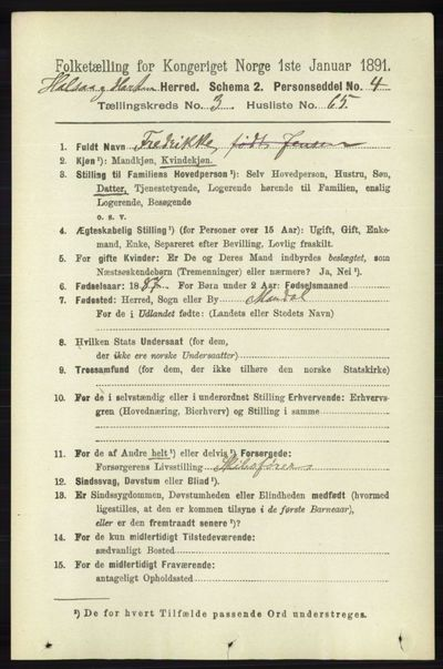 Image from object titled Folketelling 1891 - Halse og Harkmark - personsedler - side 1332