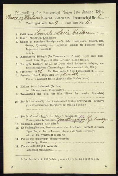 Image from object titled Folketelling 1891 - Halse og Harkmark - personsedler - side 1558