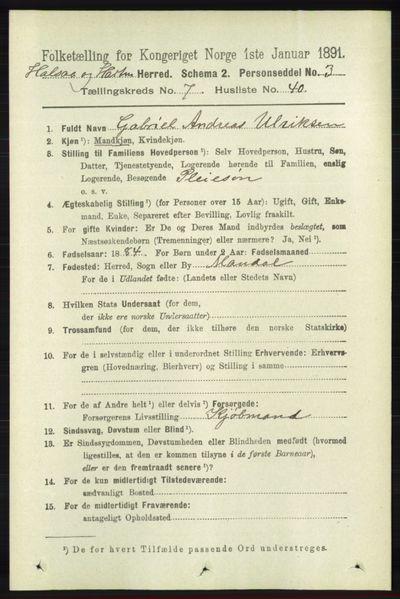 Image from object titled Folketelling 1891 - Halse og Harkmark - personsedler - side 2951