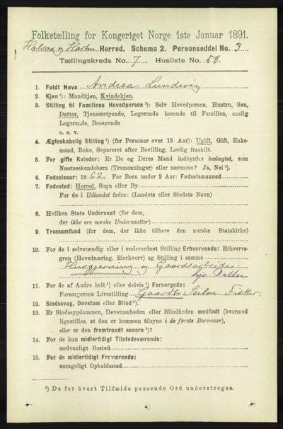 Image from object titled Folketelling 1891 - Halse og Harkmark - personsedler - side 3059