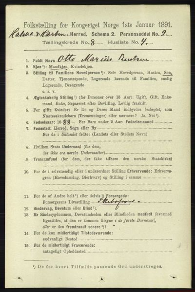 Image from object titled Folketelling 1891 - Halse og Harkmark - personsedler - side 3278