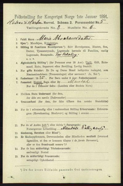 Image from object titled Folketelling 1891 - Halse og Harkmark - personsedler - side 3286