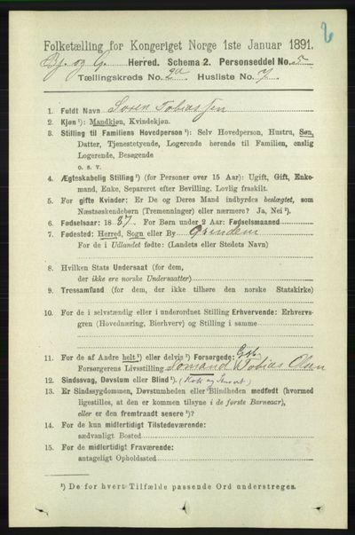 Image from object titled Folketelling 1891 - Bjelland og Grindheim - personsedler - side 349