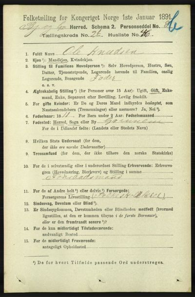 Image from object titled Folketelling 1891 - Bjelland og Grindheim - personsedler - side 589