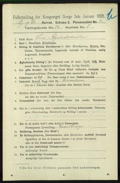 Image from object titled Folketelling 1891 - Bjelland og Grindheim - personsedler - side 793